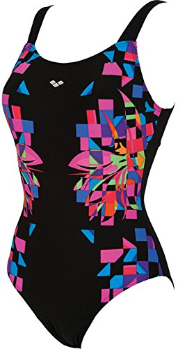 arena Scenarium One Piece Wing Back Swimsuit Women black/fresia rose 2016 Badeanzug