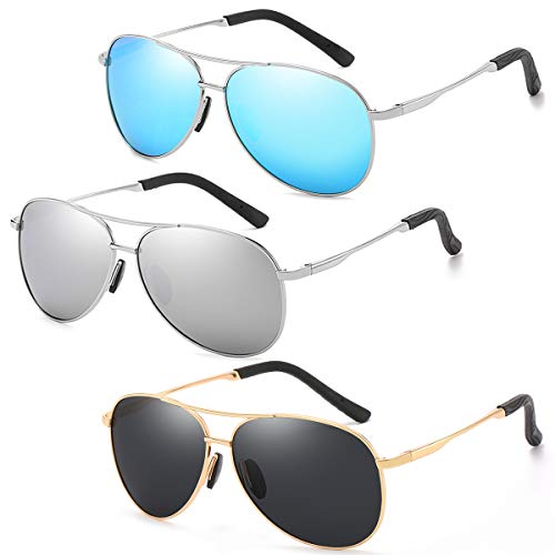 - 3 Pack Polarized Aviator Sunglasses for Men and Women 100% UV protection shades Mirrored Lens Metal Frame with Spring Hinges (Gold+Silver+Blue)
