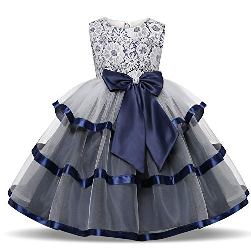 TTYAOVO Flower Girls Wedding Dress Bowknot Princess Pageant Dresses 4-5 Years T-Deep Blue (Size 130)