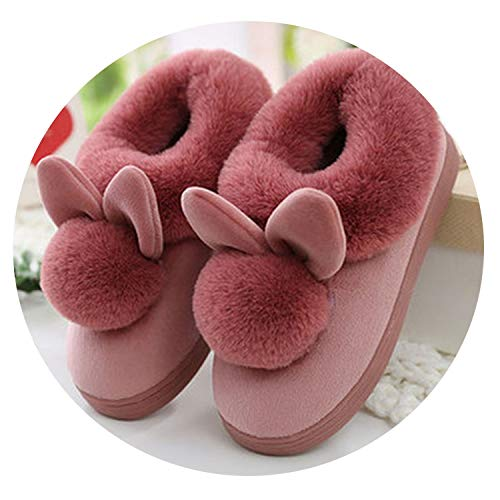 PilotageAuto Lovely Soft Home Slippers Cotton Warm Winter Women Slippers Casual Indoor Slippers,Rubber red,6 ()
