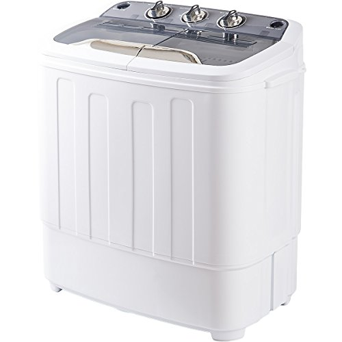 Merax Portable Mini Compact Twin Tub Washing Machine and Washer Spin Cycle, FCC Verification (Gray&White)