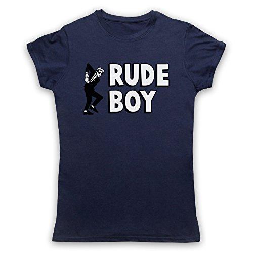 Rude Boy Jamaican Street Culture Slogan Camiseta para Mujer Azul Marino