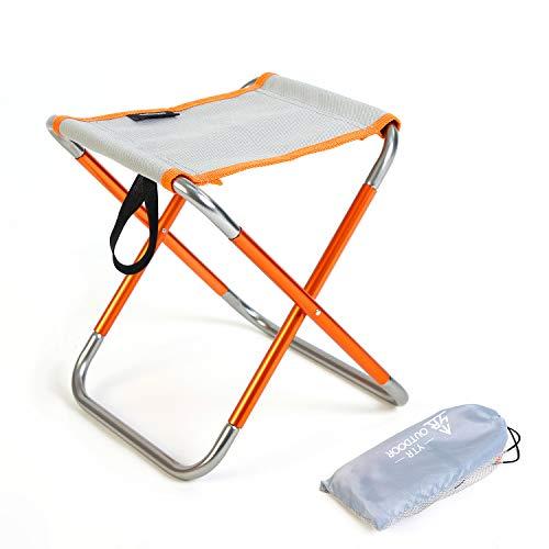 YTR OUTDOOR Taburete plegable para camping, para interior o jardin, portable con franjas naranjadas y grises, de dimensiones 22,5 cm X 25 cm X 27 cm