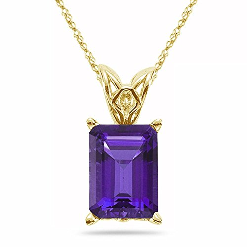 0.83-1.00 Cts of 7x5 mm AAA Emerald-Cut Amethyst Scroll Solitaire Pendant in 14K Yellow Gold
