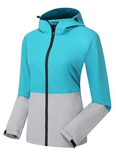 ZSHOW Womens Super Lightweight Packable Windbreaker Contrast Color UV Protect Windproof Jacket with Hood