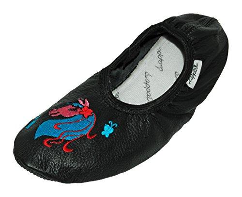 chaussons Lappa LA lappade chaussures DE DANSE Cheval Ballet DE turnschläppchen de de Chaussures ballerines BRODERIE sport Noir chaussons CHAUSSURES de AVEC rxFrP5qw