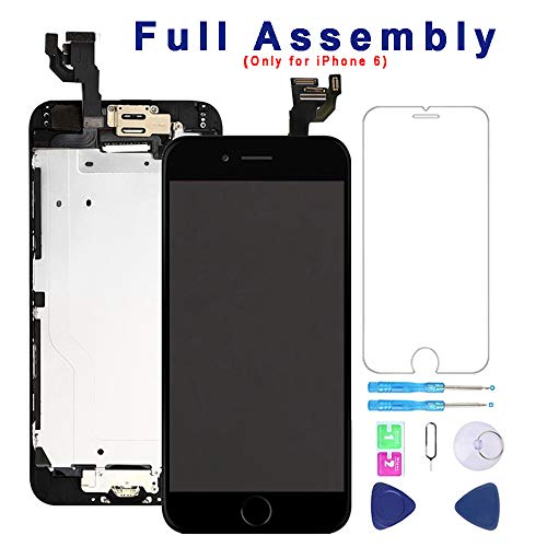 Screen Replacement for iPhone 6 Black 4.7''Full Assembly LCD Display Touch Digitizer with【Front Camera】【Home Button】【Proximity Sensor】【Earpiece Speaker】 Screen Protector, Repair Tools