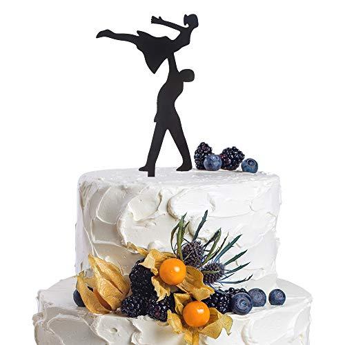 Wedding Couple Bride and Groom Dance Silhouette Black Acrylic Cake Topper Fuuny Party Keepsake -