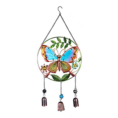 Stained Glass And Metal Butterfly Wind Chimes Garden Windchime Bells(23.5 inches)