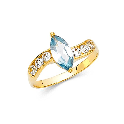 14k Yellow Gold Aqua Cubic Zirconia Marquise-cut Fashion (Aqua Cubic Zirconia Star)