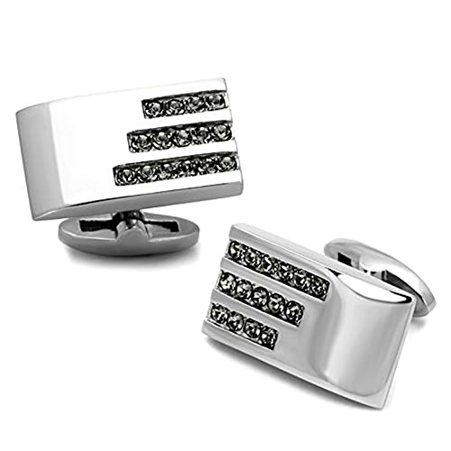 - Rectangle Stainless Steel Silver Tone Cufflinks w/Black Diamond Crystal Accents