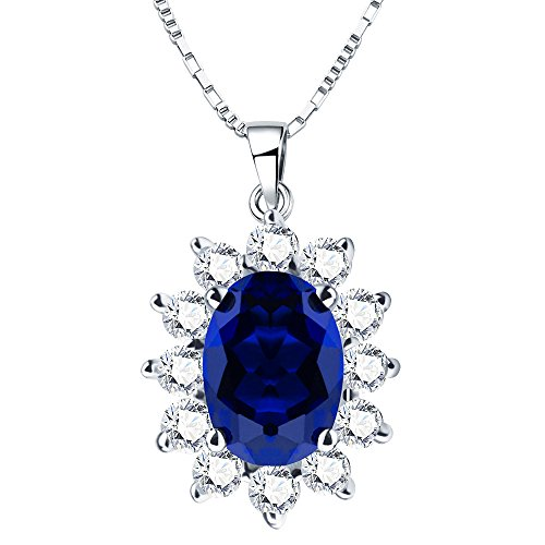 ANGG Blue Sapphire 925 Sterling Silver Princess Engagement Wedding Pendant Necklace For (Super Fine Sapphire Necklace)