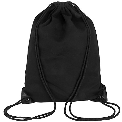 Peicees Drawstring Backpack Canvas Gymsack Drawstring Bag Sport Sackpack Travel School Backpack for Men Women Boys and Girls(Plain Black) by Peicees (Image #1)