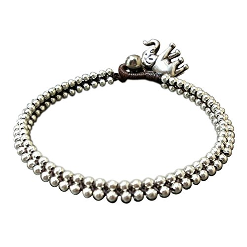 Infinity Trendy Anklet Silver Bead Elephant Ankle Bracelet 10 inches Woven Wax Cord Beautiful Handmade Hippie Bohemian Style
