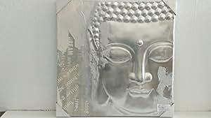 3D cuadro Buda relieve y estructura plata, 60 x 60 cm (figura derecha)