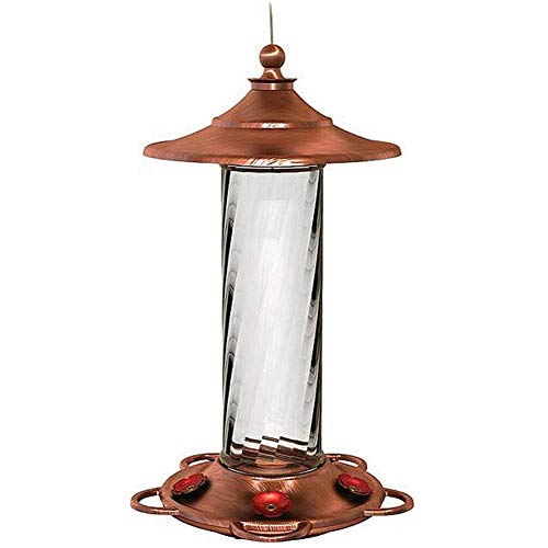Brushed Copper and Glass Hummingbird Feeder