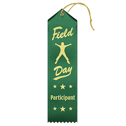 Field Day Participant Ribbons - 50 Count Value Pack with Card & String Metallic Gold foil Print – Made in the (Field Day Ribbon)