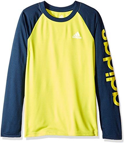 adidas Big Boys' Climalite Long Sleeve Tee, Shock Slime/Collegiate Navy, (Collegiate Long Sleeve Tee)