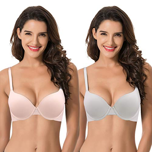 Curve Muse Womens Light Lift Add 1 Cup Push Up Underwire Convertible Tshirt Bra-2PK-LT Gray,PINK-36B