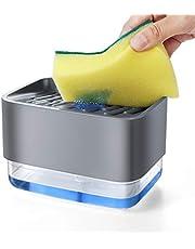 Dish Soap Dispenser with Sponge Holder 2 in 1,Liquid Soap Pump Dispenser Sets for Home,Kitchen,Bath