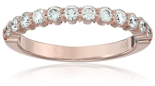 14k Rose Gold 2.5mm Shared Prong Wedding Band Stackable Ring (1/2cttw, SI1, G Color), Size - Shared 14k Prong