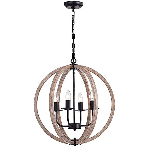 Benita Natural Wood 4-Light Orb Chandelier FD-3566-XNE