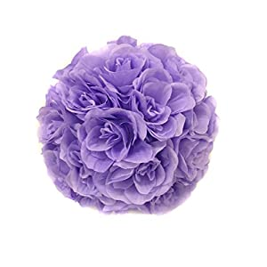 Ben Collection Fabric Artificial Flowers Silk Rose Pomander Wedding Party Home Decoration Kissing Ball Trendy Color Simulation Flower (Lavender, 25cm) 104