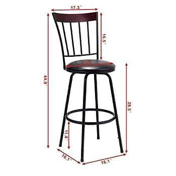 Costway Swivel Counter Height Bar Stool Modern Barstool Bistro Pub Chair Set of 3