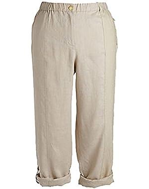 Calvin Klein Womens Plus Linen Rolled-Cuff Pants