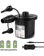 Deeplee Bomba de Aire Eléctrica, Inflador Bateria Recargable de llenado Rápido para Inflar/Desinflar, Inflador Colchon Hinchable, 3 Boquillas Incluidas (Adaptador USB: 5V)