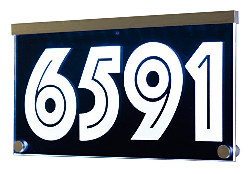12-16V AC Illuminated Address Sign Plaque House Numbers LED Lighted - Laser Engraved On Acrylic Sign with Remote Control, Auto (Address Sign Holder)