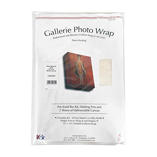 "Hahnemuhle Single Gallerie Wrap Photo Frame with Standard 1.25"" Bars, & Two 13x19"" Sheets of Monet Canvas - Finished Size: 10"" x 15-3/4"""