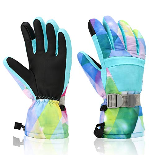 Ski Gloves, Yidomto Winter Waterproof Warm Touchscreen Snow Gloves Mens, Womens, Boys, Girls, Kids (Light Blue-L)