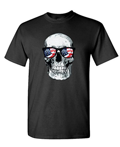 SKULL WITH USA GLASSES american biker ride - Mens Cotton T-Shirt, M, Black