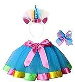 Jasmine Girls 3 Pieces Layered Rainbow Tutu Skirt - Unicorn Headband & Hair Bow for Dress up Costume