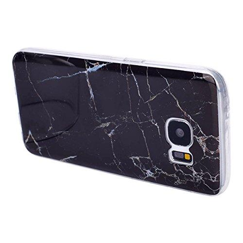 [ Samsung Galaxy S7 ] Suave Caso,Etsue Funda de Silicona TPU Patrón de la Caja Ultrafina para Samsung Galaxy S7,Suave Diáfano Dibujo Mármol Patrón para Samsung Galaxy S7 + 1 x Blue Stylus Pen + 1 x ta Negro