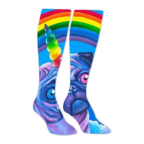 Rainbow Pug Dog Athletic Socks Knee High Socks For Men&Wom Tube Long Stockings Casual Socks