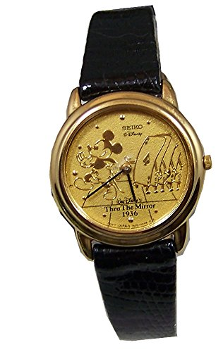 Mickey Mouse Watch Through the Mirror Mickey with Cards Gold Womens Seiko ()