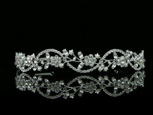 Bridal Flower Rhinestones Crystal Wedding Headband Tiara (Faux Pearl Silver Plated)