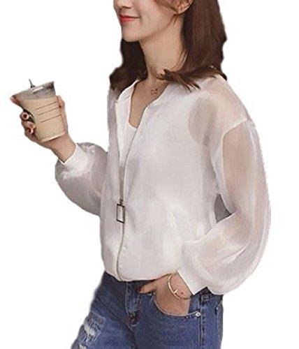 [ニブンノイチスタイル] 1/2style 薄手 羽織 もの 物 ノーカラー ブルゾン ジャケット レディース