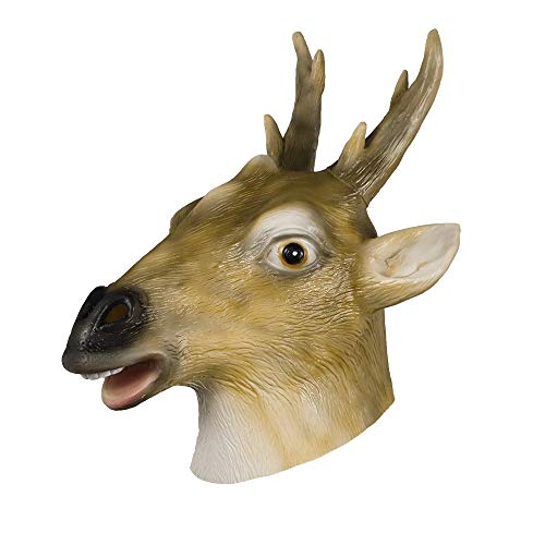 molezu Latex Deer Mask Halloween Party Costume Rubber Animal Head Mask Adult Deer Antler Yellow]()