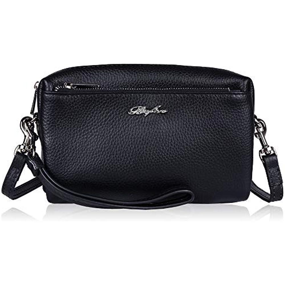 Befen Women Full Grain Leather Tripple Zip Crossbody Bag Crossbody Cell Phone  Purse Wallet Bag Phone Wristlet - Black Handbags