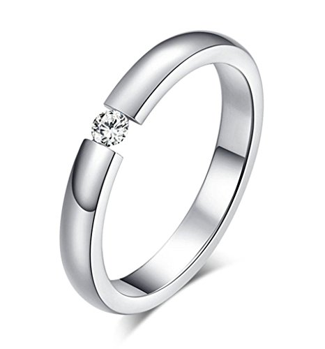 Alimab Jewelery Womens Rings Stainless Steel Round White CZ Silver (Custom Costumes In Edmonton)