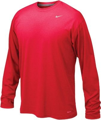 (Nike Mens Legend Poly Long Sleeve Dri-Fit Training Shirt University Red/Matter Silver 384408-657 Size Small)