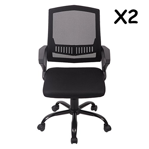 BestOffice PU Leather Mid-Back Mesh Task Chair Office Desk Task Chair