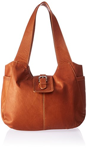 Piel Leather Small Flap Hobo Bag, Saddle