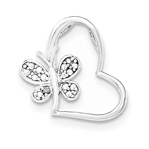 Slide Diamond Bracelet Rhodium - Sterling Silver Rhodium & Diam. Butterfly Heart Chain Slide