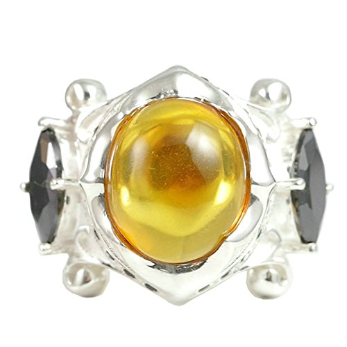 Beydodo Mens Silver Ring, Black Cubic Zirconia and Amber Ring Size 10.5 Silver Ring for Men Hip Hop by Beydodo