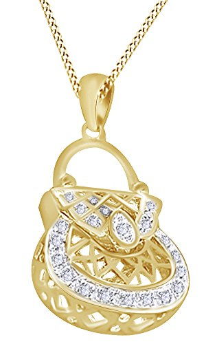 AFFY White Natural Diamond Handbag Purse Hip Hop Pendant in 14k Yellow Gold Over Sterling Silver (0.20 Cttw)