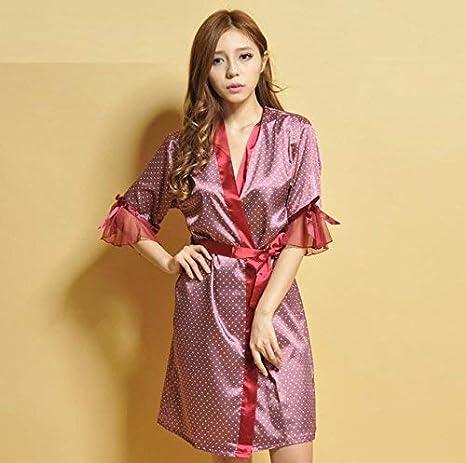 GZZ Inicio Hotel Albornoz Robe Summer Pyjamas Noble Gowns Seda de imitación Señoras Servicio a Domicilio Batas de baño/Albornoces, Rojo,un tamaño,Rojo: ...